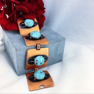 Vintage Genuine Copper Faux Turquoise Bracelet